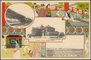 korea coree KEIJYO SEOUL Chosen Hotel FUSAN Pier, Railway Bridge over Yalu 1910s