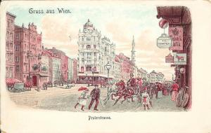1900 Vienna / Wien Austria PC: Praterstrasse With Signage, Horse-Drawn Traffic