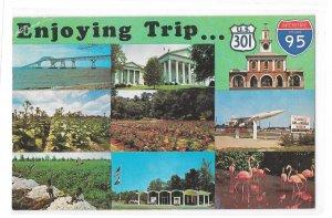 Highways Enjoying Trip US 301 and interstate Rte I-95 Vintage Multiview Postcard