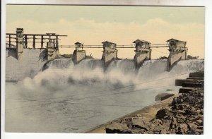 P1940  old postcard Gatun Dage earthen dam across the Chagres River in Panama,