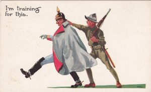 Postcard US Doughboy Soldier Capturing German Kaiser Unused