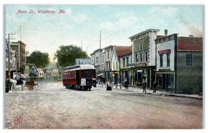 Early 1900s Main Street w/ Street Car, Winthrop, Maine Postcard