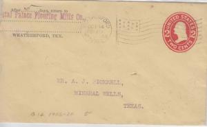 Weatherford, TX - CRYSTAL PALACE FLOURING MILLS CO,, Early 1899 embossed COVER