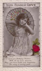 Happy Fondest Love Japanese Floral Umbrella Pagoda Real Photo WW2 Old Postcard