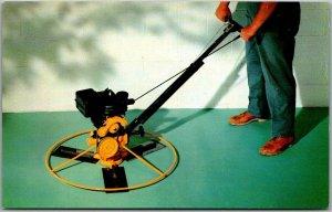 1950s Advertising Postcard Crazy-Dangerous-Looking Weed Whacker / Lawn Mower