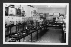 NY NAVAL Exhibit HYDE PARK NEW YORK Real Photo RPPC Franklin Roosevelt Library