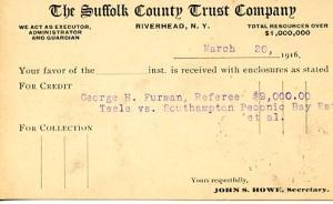 U. S. Postal Card - UX27(Jefferson 1c) Suffolk County Trust (NY)