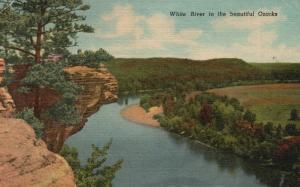 White River in the Beautiful Ozarks, Arkansas, AR, 1956 Linen Postcard f9733