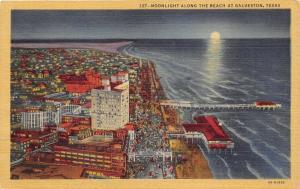 Galveston Texas Bird's Eye View @ Night~Crowd along Oceanfront~Pier~Hotels?~1934
