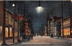 Newport News Virginia Washington Avenue Street Scene Antique Postcard K103059