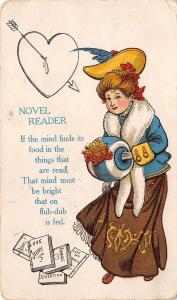 Victorian Comic~The Novel Reader~Silly Young Woman~Dripping Heart~Poem~1908 PC