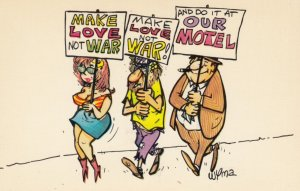 HIPPIE Comic ; Make Love not War , And do it at Our Motel , 1960s