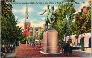 Paul Revere Park with Old North Church and statue Boston Massachusetts