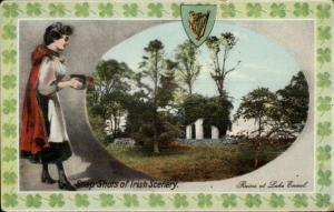 Snap-Shots - Ireland - Ruins of Lake Ennel Beautiful Woman w/ Camera Postcard