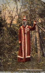 Klu Klux Clan Postcard Original Ku Klux Klan Costume 1890's Costume C. 1...