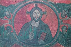 Religion Scala Santa Cristo Pantokratore mosaico  Postcard