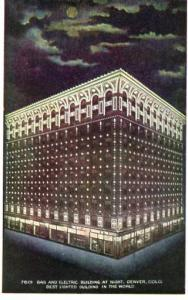 CO - Denver, Gas & Electric Building at Night. Best Lighted Building in the W...