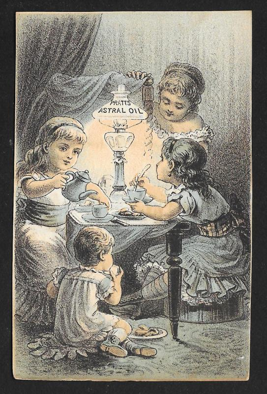 VICTORIAN TRADE CARD Pratts Astral Oil Lady, Girls & Baby at Tea