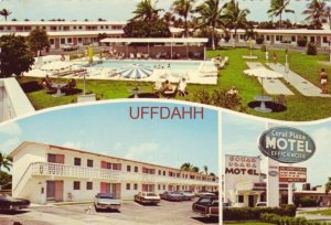 Continental-size Three views CORAL PLAZA MOTEL, on Route 1 FORT LAUDERDALE, FL.