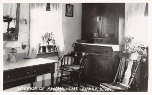 Amana IA Home Interior~Buffet~Rocking Chair~Little Vases in Window 1920s RPPC