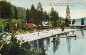 LAKE COEUR D'ALENE, Idaho  ID    Summer Homes  TWIN BEACHES  1912   Postcard