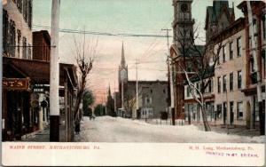 Mechanicsburg PA~Big Clock Tower & Steeples~Shops~White Top Telephone Pole~c1905