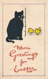 Black Cat and Yellow Chicks Warm Easter Greetings - pm Canandaiguq NY 1911 - DB