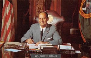 Washington State Politics~Governor Albert D Rosellini at His Desk~1960s Postcard
