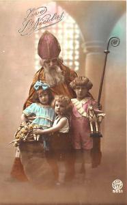 Christmas Brown Suited Santa Claus Staff Children Belgium Tinted Postcard