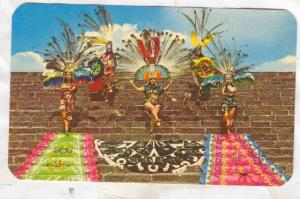 Recreation of Aztec dances on side of Pyramid, Mexico, 40-60s