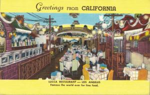 USA Greetings from Californiaca Lucca Restaurant 01.64