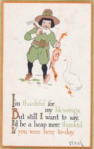 THANKSGIVING; Pilgrim boy holding dead duck, Goose walking by, 00-10s
