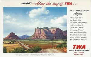 Along the Way of T.W.A., Oak Creek Canyon, Arizona, 1962 postcard, used  in 1967