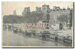 Old Postcard Paris Quay and Port of City Hotel