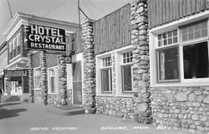 Beulah MI~Hotel Crystal Closeup~Wilhelm Real Estate~Car License Sttn RPPC 1950