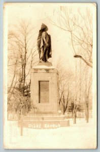 Keokuk Iowa~Rand Park~Chief Keokuk Statue in Snow~Side View~c1920s RPPC