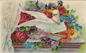 Bird With A Best Wishes Greeting On His Neck, Flowers, PU-1909