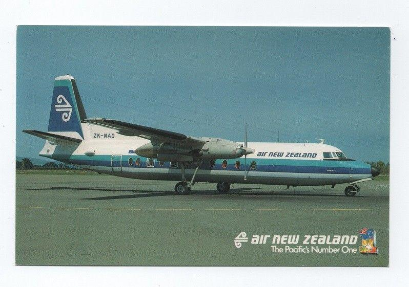 POSTCARD AIRLINE ISSUED AIR NEW ZEALAND  FOKKER FRIENDSHIP F-27 AIRPLANE AIRCRAF