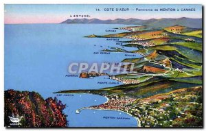 Old Postcard Panorama of Menton in Cannes