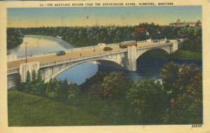 Winnipeg Manitoba MB ~ Maryland bridge ~ Assiniboine River c1940 Linen Postcard