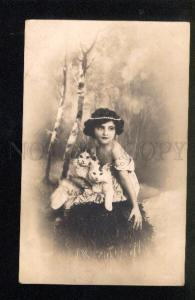 046710 Girl as FAIRY w/ Two PUSSY CATS vintage PHOTO