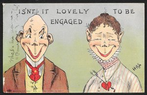 Comic Isnt It Lovely To Be Engaged Man & Lady Used c1907
