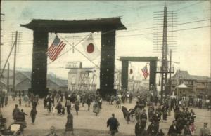 Yokohama Japan Busy Street Scene c1910 Hand Colored Postcard