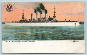 Postcard USS Colorado US Navy Ship Armored Cruiser c1909 V11