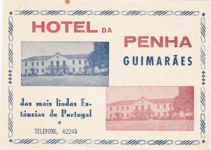 Portugal Guimaraes Hotel Da Penha Luggage Label sk4616