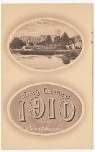 Dorset; Hearty Greetings From Christchurch 1910 PPC, Unused