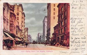 Spring Street, Los Angeles, California, Early Postcard, Used in 1906
