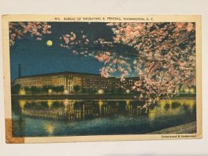 Postcard bureau of engraving & printing washington dc night scene