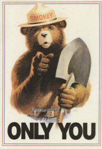 Smokey Bear Postcard ONLY YOU 1989 Fire Prevention