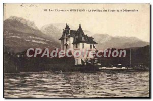 Old Postcard Lac D'Annecy Menthon Pavilion Flowers And The Debarcadere